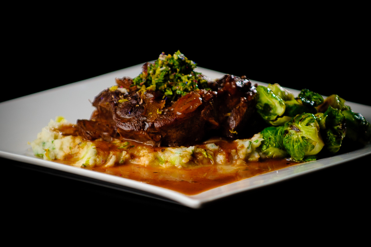 Braised beef with mashed potatoes and Brussels sprouts