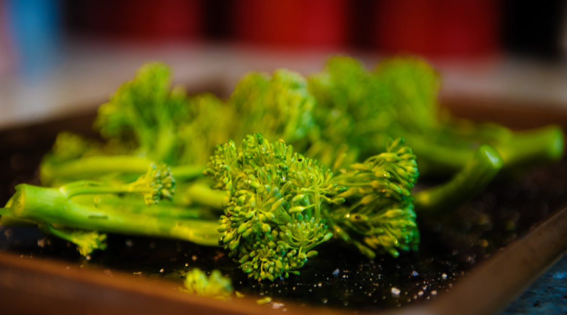 Broccoli on a baking tray